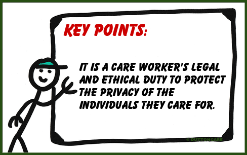 Key Points: It is a care worker's legal and ethical duty to protect the privacy of the individuals they care for.