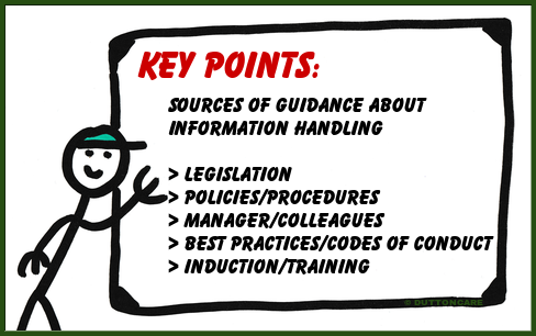 Key Points: Sources of guidance about information handling, Legislation, Policies/procedures, Manager/Colleagues, Best practices/Codes of conduct, Induction/training