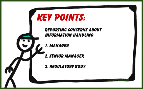 Key Points: Reporting Concerns About Information Handling 1. Manager, 2. Senior Manager, 3. Regulatory Body